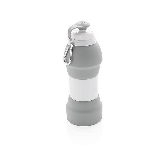 Skládací silikonová sportovní láhev - šedá