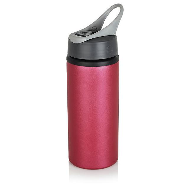 Hliníková sportovní lahev, růžová - růžová