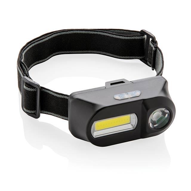 Čelovka s LED a COB - černá