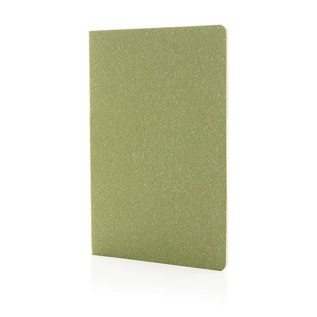Slim poznámkový blok A5 s měkkou vazbou - zelená