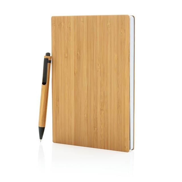 Bambusový set poznámkového bloku A5 a pera - hnědá