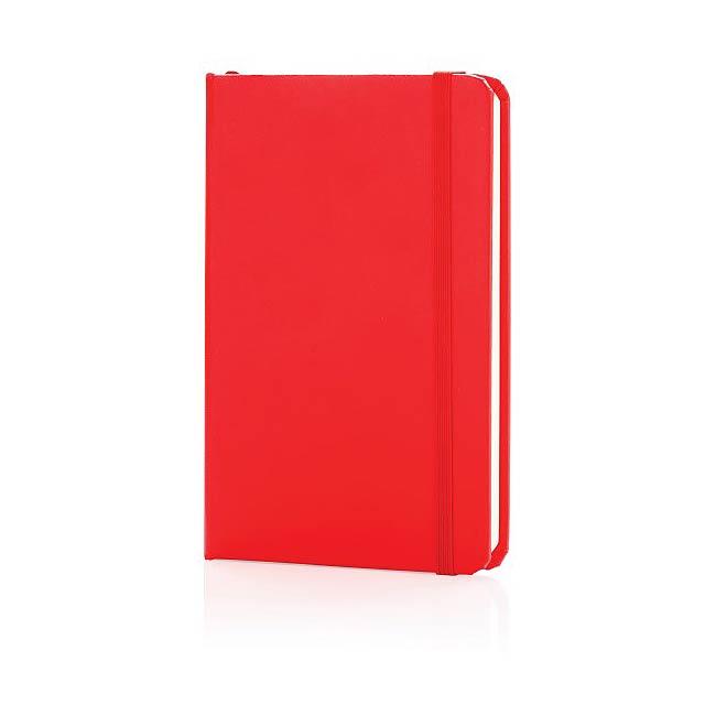 Základní poznámkový blok A6 spevnými deskami, červená - červená
