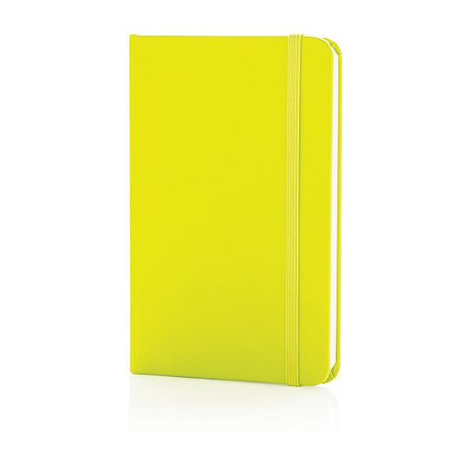 Základní poznámkový blok A6 spevnými deskami, vápno zelené - citrónová - limetková
