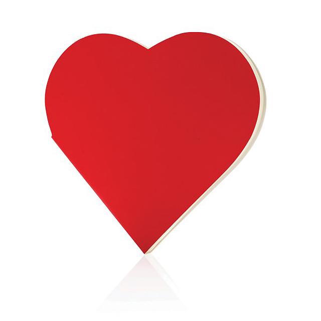 Zápisník ve tvaru srdce, červená - červená