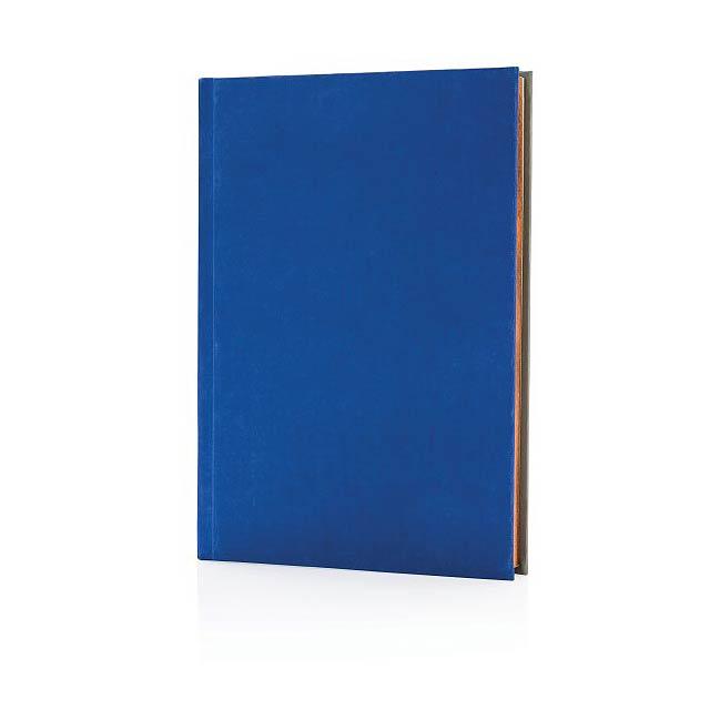 Luxusní látkový poznámkový blok A5 2v1 linkovaný ačistý, - modrá