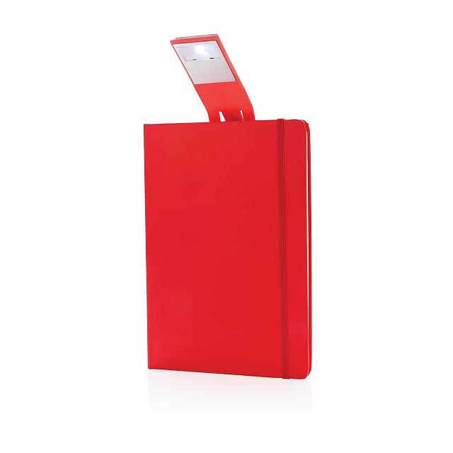 Poznámkový blok A5 s LED záložkou, červená - červená