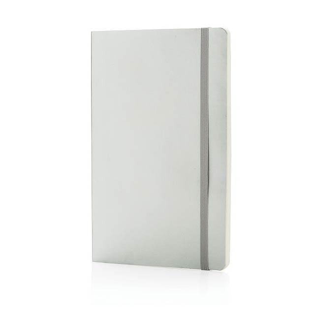 Metalický poznámkový blok Deluxe v měkké vazbě, stříbro - stříbrná