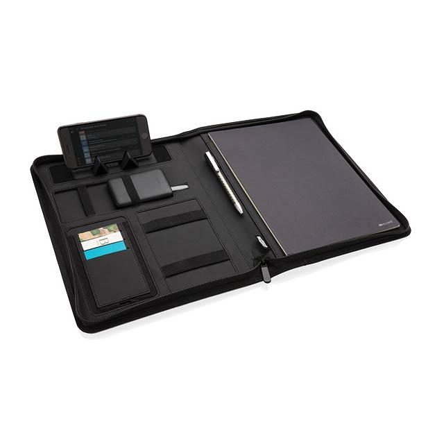 Portfolio A4 z RPET s bezdrátovu nabíječkou 5W Air - černá