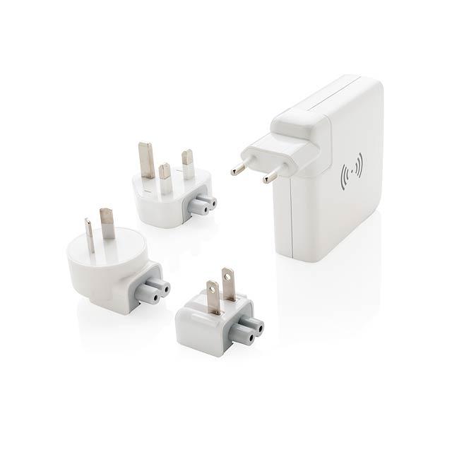 Cestovní adaptér s bezdrátovou powerbankou - bílá