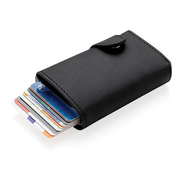 Hliníkové RFID pouzdro na karty s PU peněženkou - černá