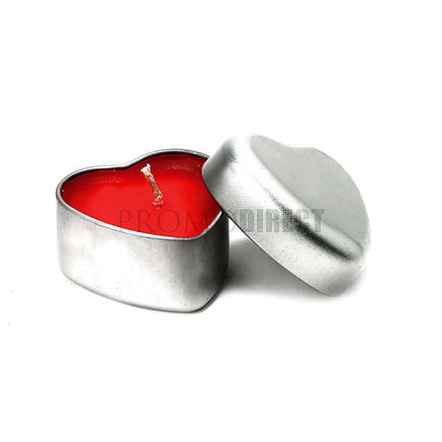 Svíčka Heart - stříbrná mat