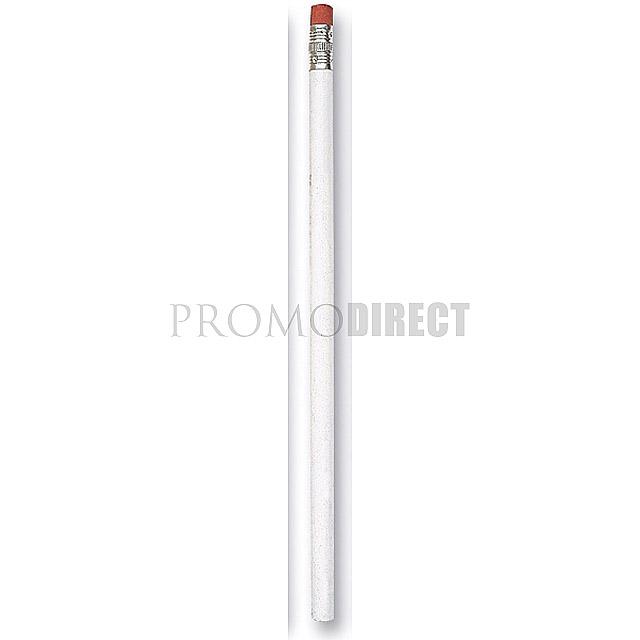 Weiße, runde Bleistift mit Radiergummi - Weiß