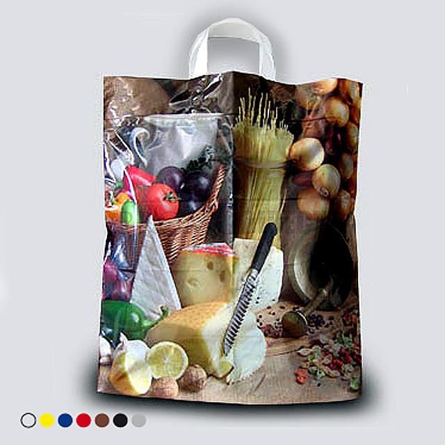 A plastic bag, 40x46 cm, 2 color printing - gold